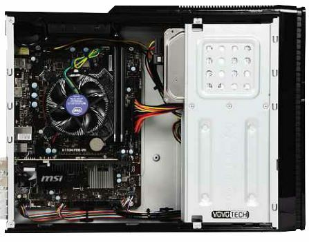 BELOW The case has room for a 2.5in drive, 5.25in optical drive and 3.5in disk drive