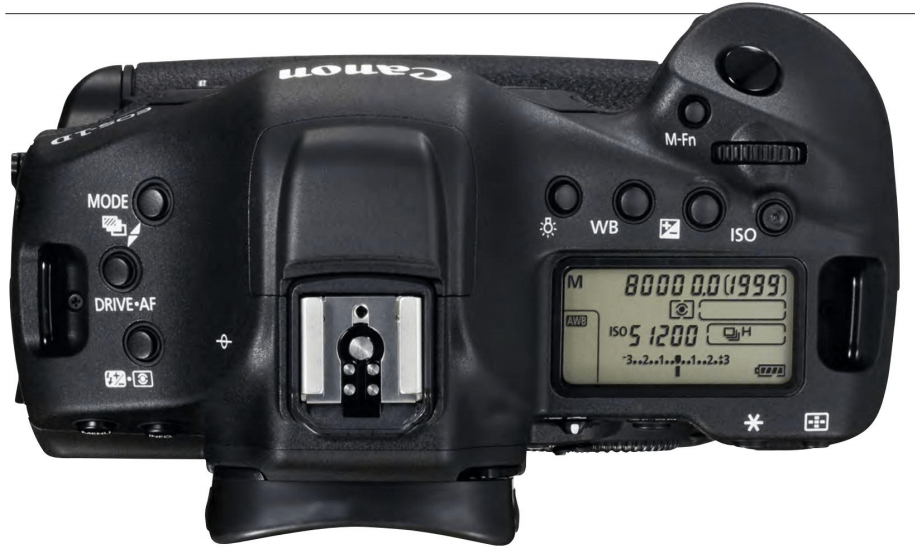 Canon's pro-level cameras adopt a completely different control layout to the consumer models. The Mode dial is dropped in favour of tough, weather-sealed buttons