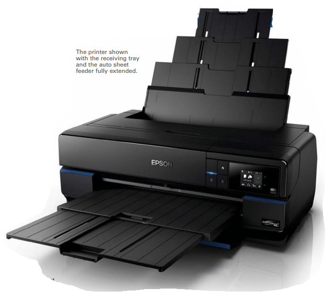 The printer shown with the receiving tray and the auto sheet feeder fully extended.