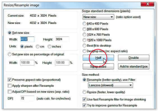 By halving the dimensions of a photo you can reduce its file size to one-tenth of the original