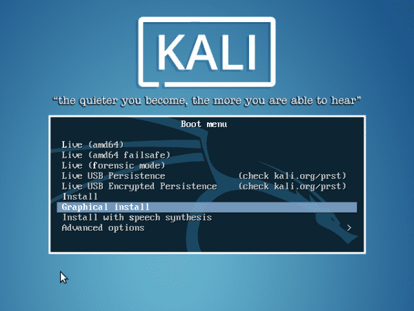 Above The Kali boot menu offers the ability to run in regular modes, forensic modes and with USB persistence