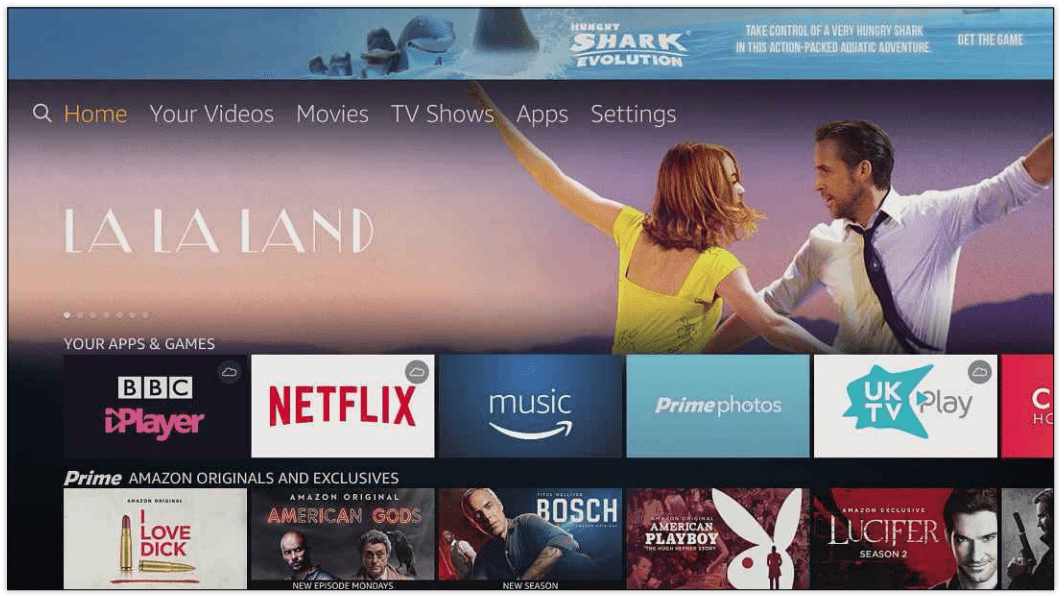 The Fire TV Stick's app store is well stocked with content, including Amazon Prime Instant Video and Netflix