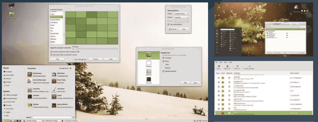 Above The MATE desktop is a traditional, but good-looking desktop environment Top right Mint Desklets are applets that live on your desktop Above right The Linux Mint update manager is one of the best out there.PNG