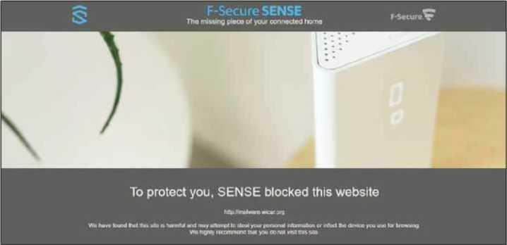 Sense actively blocks malicious websites on all your networked devices