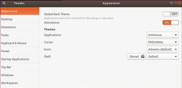 Above Use the Tweak Tool and the User Shell extension to apply your own themes throughout the GNOME environment