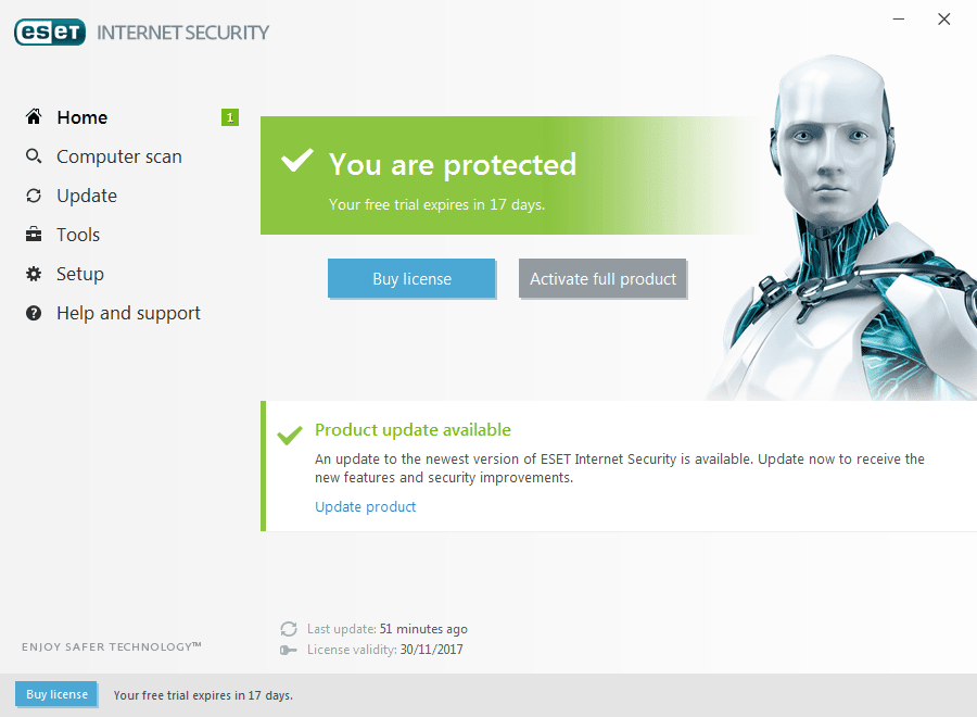 ABOVE Eset's simple interface belies its excellent network protection features