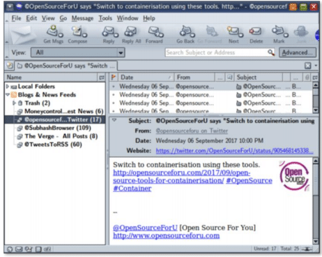 Figure 4: Thunderbird is also an RSS feed reader