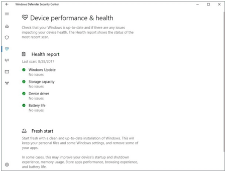 Windows Defender's device performance and health report.
