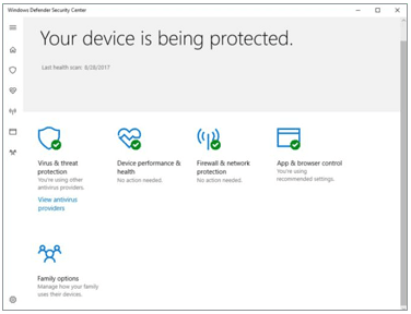 Windows Defender's primary dashboard