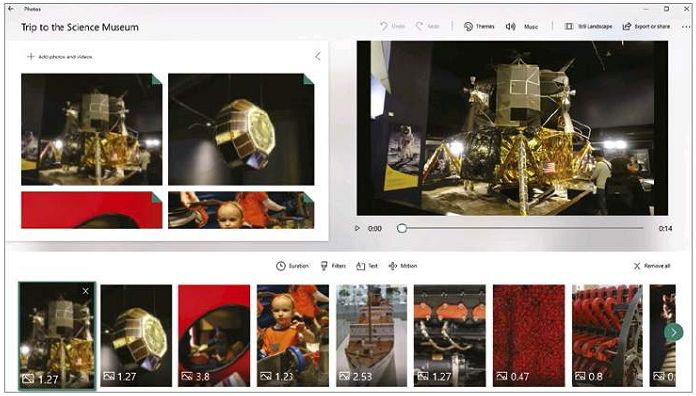 A video module in Photos lets you quickly create short videos
