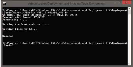 A simple command can create a Windows ADK boot environment