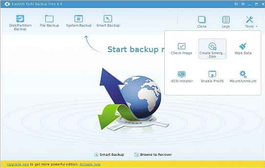 When EaseUS TODO Backup is open, click Tools and select the emergency disk creation option