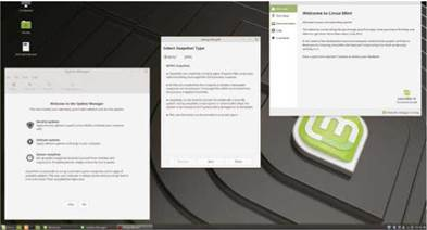 Above The new welcome screen, enhanced update manager and Timeshift setup screen represent major improvements for Linux Mint 19