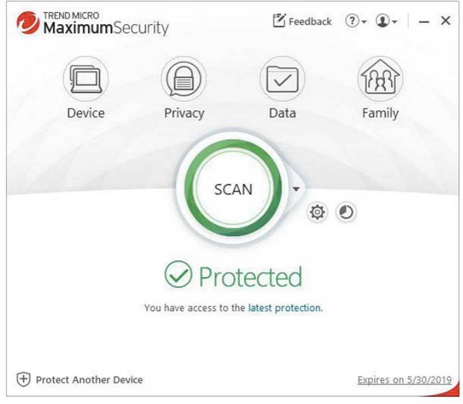 Trend Micro Maximum Security's default view.