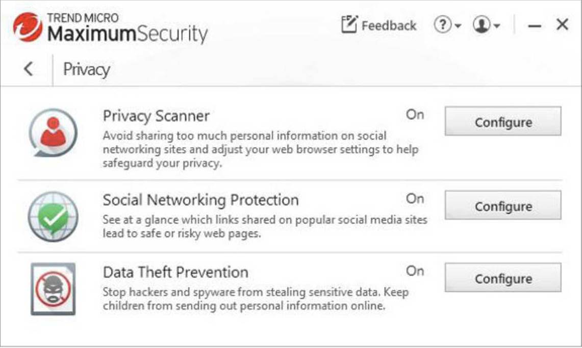 Maximum Security's Privacy tab.