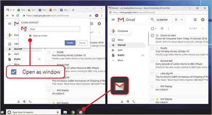 Using Chrome's 'Open as window1 option (left), you can make Gmail's website work more like a PC program (right), complete with a taskbar icon