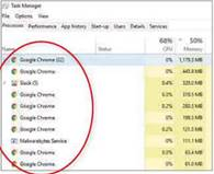 Chrome often eats into my computer's memory, according to Task Manager