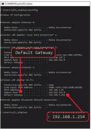 Your router's IP address will be listed next to Default Gateway in Command Prompt