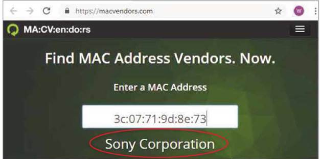 Not sure which device a MAC address relates to? The Mac Vendors website can help