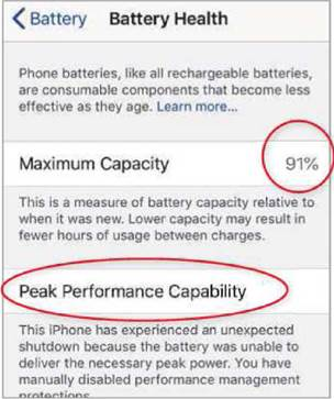 iOS's Battery Health feature tells you whether an iPhone's battery is due to be replaced