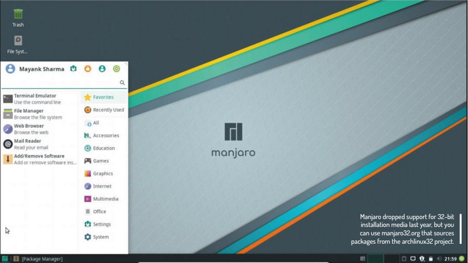 Manjaro dropped support for 32-bit installation media last year, but you can use manjaro32.org that sources packages from the archlinux32 project.