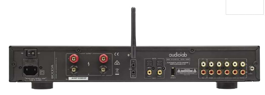 The rear includes both digital and analogue inputs as well as an antenna for Bluetooth reception.