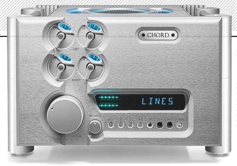 LEFT: We can't help thinking the Ultima preamp is rather larger than it really needs to be, but the industrial design is certainly distinctive! The 'flip' controls top left provide separate HF and LF tone controls for each channel, while the buttons under the display could do with clearer function labelling