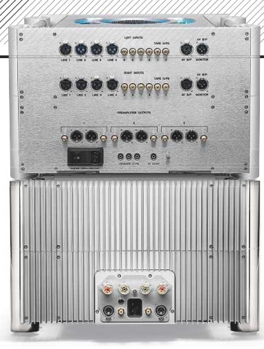 LEFT: The preamp [top] offers eight line ins (four on RCAs and four on XLRs), two tape ins (on RCAs), one AV bypass input/ output (on XLRs) and three sets of main outputs (on RCAs and XLRs). The power amp [below] has inverting and non-inverting single-ended (RCA) and balanced (XLR) inputs with two sets of speaker outputs on 4mm binding posts