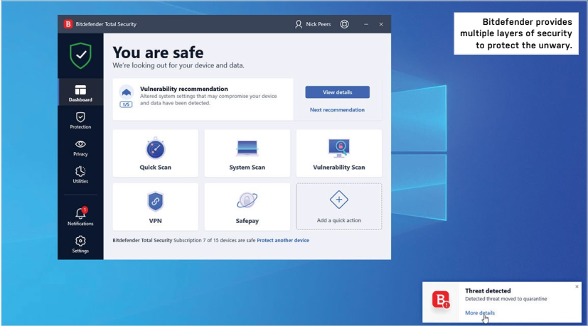 Bitdefender provides multiple layers of security to protect the unwary.