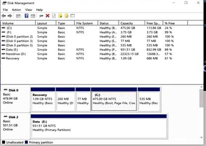 Be very, very careful when making changes in Disk Management