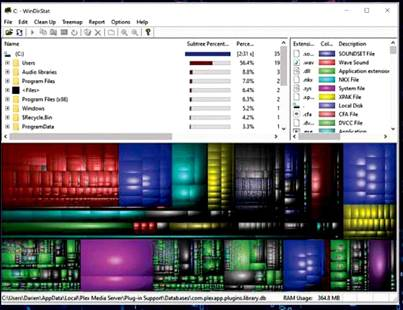 WinDirStat provides a trippy visualisation of how storage is being used